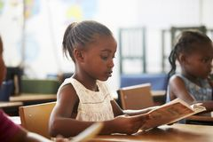 Girl holding book and reading in an elementary school lesson Royalty Free Stock Image