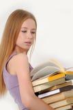 Girl holding  books Royalty Free Stock Image