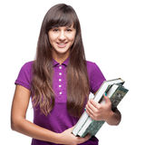 Girl holding books Royalty Free Stock Photo