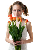 Girl holding a bouquet of flowers Stock Photo