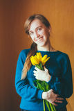 Girl Holding Bouquet  Flowers Tulips Stock Photo