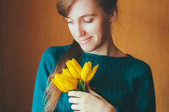 Girl Holding Bouquet  Flowers Tulips Stock Image