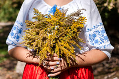 A girl holding a bouquet of fresh wildflowers. Woman in Ukrainian national costume. Royalty Free Stock Images