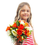 Girl holding a bouquet of roses in his outstretched hand Royalty Free Stock Image
