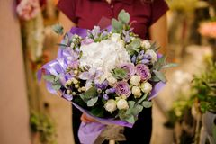 Girl holding a bouquet of roses, hydrangea, orchid, eustoma, peonies Royalty Free Stock Images