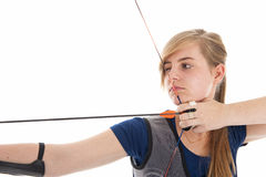 Girl holding a bow and arrow in closeup Stock Photos