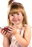 Girl holding bowl of berries Royalty Free Stock Image