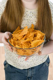 Girl Holding Bowl Of Nachos Stock Photos