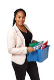 Girl holding box of documents Royalty Free Stock Photos