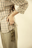 Girl holding brass keys Stock Image