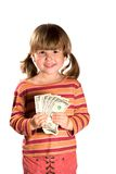 Girl holding bunch of dollars. As her first salary isolated on white Stock Photos