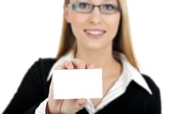 Girl holding business card Stock Images