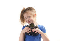 Girl holding camera Royalty Free Stock Photo