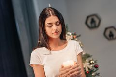 Girl holding candle Royalty Free Stock Photography
