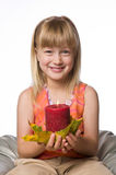 Girl holding a candle wrapped in autumn leaf Royalty Free Stock Photography