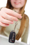 Girl holding car key Royalty Free Stock Photo