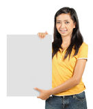 Girl holding a card Stock Photography