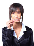 Girl holding a card with photo her smile Stock Photo