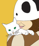 Girl Holding Cat. Vector illustration of girl holding a cute cat Royalty Free Stock Images
