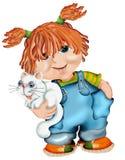 Girl holding cat. Cartoon illustration of cute ginger haired girl holding cat, isolated over white background stock illustration