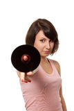 Girl holding CD royalty free stock image