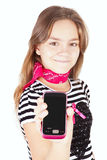 Girl holding cell phone isolated over white Royalty Free Stock Photo