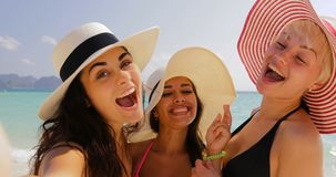 Girl Holding Cell Smart Phone Welcome Women To Take Selfie Photo On Beach, Cheerful Tourists In Straw Hats On Summer stock footage