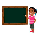Girl holding chalk teaching on Blank Black board Royalty Free Stock Photo