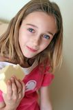 Girl holding cheese royalty free stock photos