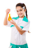 Girl holding chemical flask Royalty Free Stock Images