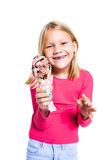Girl holding chocolate ice cream Stock Images
