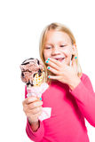 Girl holding chocolate ice cream Stock Photography