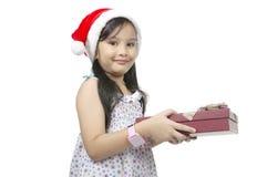 Girl Holding Christmas Box Stock Photos