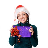 Girl  holding a Christmas gift Stock Photography