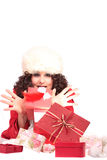 Girl Holding Christmas Gift Royalty Free Stock Photos