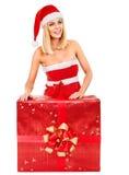 Girl  holding Christmas gift box. Royalty Free Stock Image