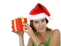 Girl Holding Christmas Present Stock Images