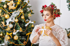 Girl is holding a Christmas present. Stock Image