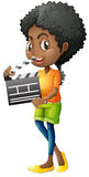 Girl holding clapboard on white background Stock Images