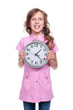 Girl holding clock Royalty Free Stock Photography