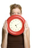 Girl Holding Clock Royalty Free Stock Photos