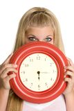 Girl Holding Clock Stock Photos