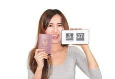 Girl holding clock Royalty Free Stock Photo