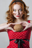 Girl Holding Coconut Royalty Free Stock Photo