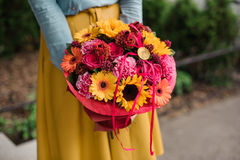 Girl holding colorful bouquet with different Gerbera flower Stock Photos