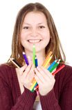 Girl holding colour pencils Royalty Free Stock Image
