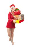Girl holding coloured  boxes Royalty Free Stock Photography