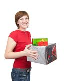 Girl holding coloured  boxes Royalty Free Stock Photos