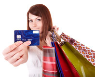 Girl holding credit card. Royalty Free Stock Photography
