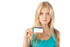 Girl holding credit card Royalty Free Stock Images